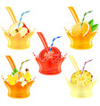pouring juice splash with fruits 3d realistic set vector image vector image