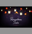 ramadan kareem sale with hanging lantern vector image vector image
