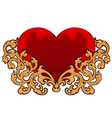 Red heart floral pattern vector image vector image