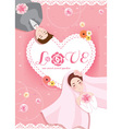 romantic pastel sweet peach pink bride and groom vector image vector image