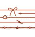 ropes knots horizontal set vector image vector image