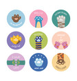 set circle badges or frames with animals paws flat vector image vector image