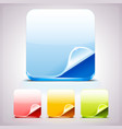 set four app icons backgrounds with curl corner vector image
