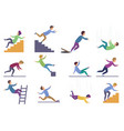 set injuring people falling down stairs and vector image vector image