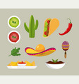 set mexican spicy sauces and traditional food vector image