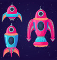 set of cartoon spaceships and rockets vector image