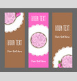 set of vertical narrow banners cake and flower vector image