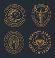 set vintage badges for seafood theme vector image vector image