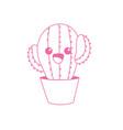 Silhouette kawaii cute tender cactus plant vector image