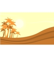Silhouette of dessert and clump palm vector image