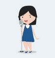 small girl singing song vector image