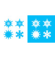 snowflake icon set white and blue color christmas vector image vector image
