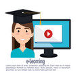 student using computer desktop electronic vector image vector image