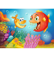 Two fishes with big fangs under the sea vector image vector image