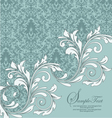 vintage blue damask invitation with floral element vector image vector image