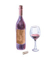 wine bottle red wineglass and cork vector image