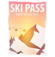 winter sport ski pass mountain landscape vector image