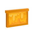wooden frame with honeycomb sweet honey flowing vector image