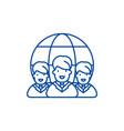 world market line icon concept world market flat vector image vector image