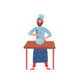 young man cooking food on wooden table bearded vector image vector image