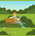 young man sitting on the bench in the park and vector image vector image