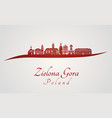 zielona gora skyline in red vector image vector image