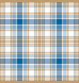 blue gold white check fabric texture seamless vector image