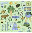Colored Ecology and recycle doodle icons set vector image