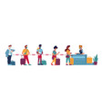 airport queue passport control social distance vector image vector image