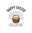basket with eggs in beams happy easter text vector image vector image