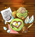 beautiful festive breakfast for Valentines Day vector image