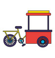bicycle food cart on white background vector image