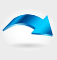 blue arrow isolated curve icon vector image
