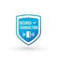 blue secure transaction shield with card and vector image