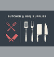 butcher and bbq supplies vector image vector image