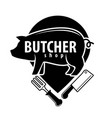 butcher shop black emblem with pig and cutlery vector image vector image