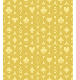 Card Suits and Dollar Sign Seamless Pattern vector image