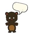 cartoon black bear cub with speech bubble vector image vector image