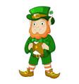 cartoon leprechaun in green frock coat and top hat vector image vector image