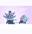 Cartoon robotic surgery concept card poster vector image
