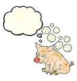 cartoon smelly pig with thought bubble vector image vector image