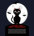 cat sits against full moon happy halloween vector image