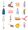 cleaning icons set detergents cartoon style vector image vector image