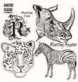 collection hand drawn animals vector image vector image