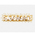 congratulations text with confetti transparent vector image vector image
