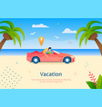couple going on vacation on cabriolet vehicle vector image