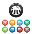 cup cake icons set color vector image