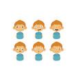 cute boy facial emotions set kids face vector image vector image