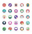 database and cloud technology flat icons vector image vector image