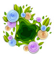 design with flowers and leaves paper cut style vector image